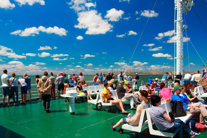 Russia Crimea Kerch Strait July 23 2016: people on the ferry crossing from the port of the Caucasus to the port of stock photos