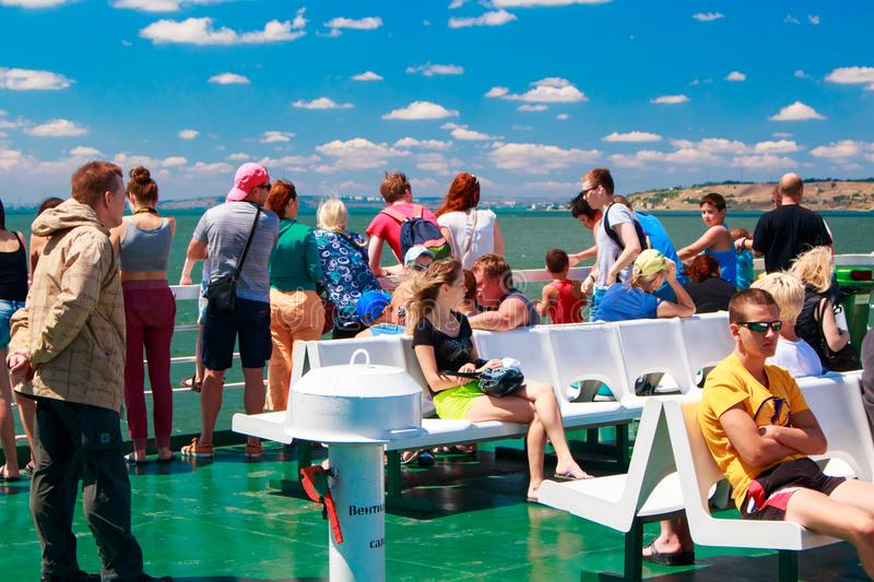 Russia Crimea Kerch Strait July 23 2016: people on the ferry crossing from the port of the Caucasus to the port of stock photo