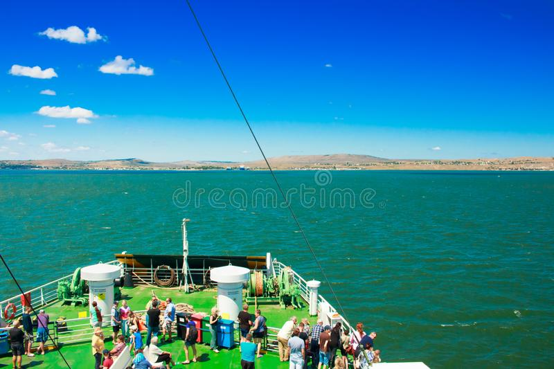 Russia Crimea Kerch Strait July 23 2016: people on the ferry crossing from the port of the Caucasus to the port of stock image