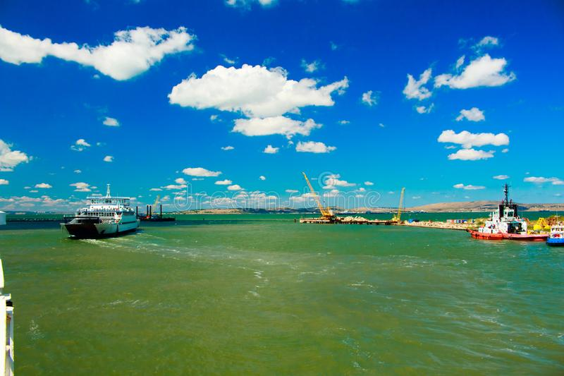 Russia Crimea Kerch Strait July 23 2016: seascape from the port of the Caucasus to the port of Crimea. stock photos