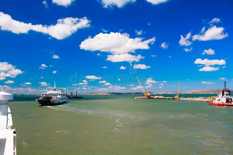 Russia Crimea Kerch Strait July 23 2016: seascape from the port of the Caucasus to the port of Crimea. stock images