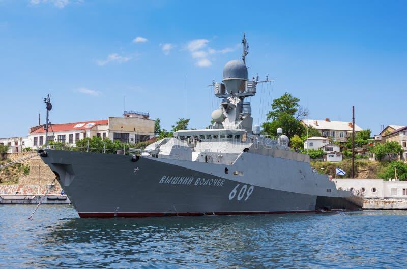 Small rocket ship `Vyshny Volochek` anchored in Sevastopol Bay. Russia, the Crimea Peninsula, the city of Sevastopol. 10.06.2018 small rocket ship `Vyshny stock photography