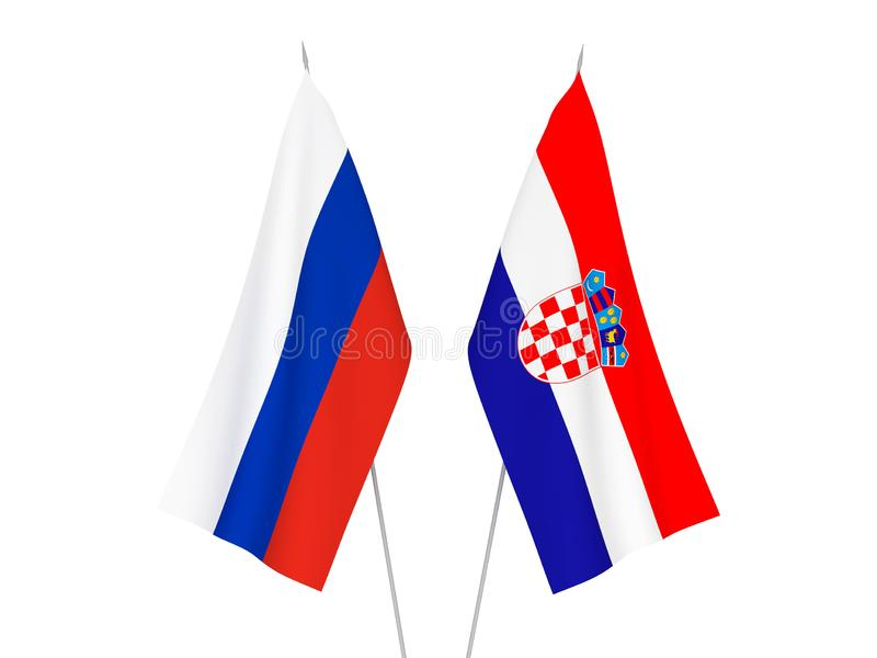Russia and Croatia flags. National fabric flags of Russia and Croatia isolated on white background. 3d rendering illustration royalty free illustration