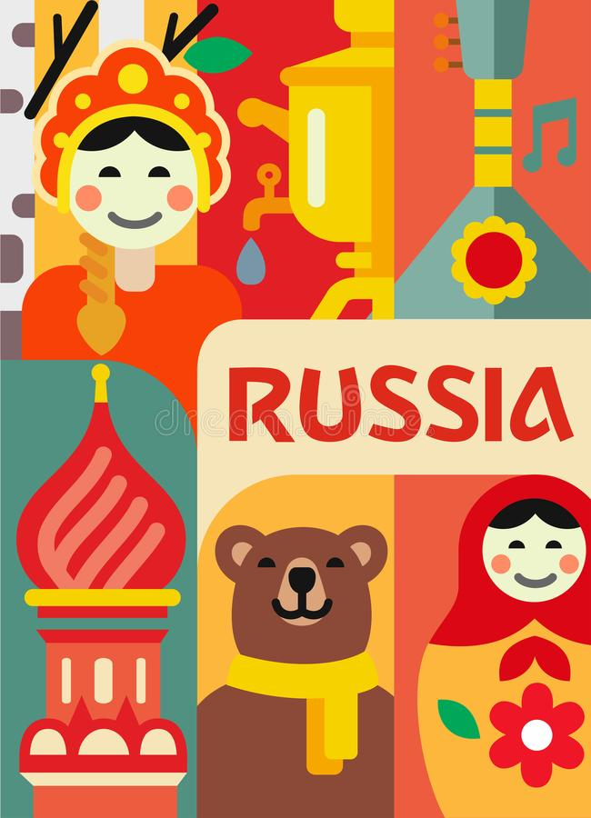 Russia culture travel set royalty free illustration