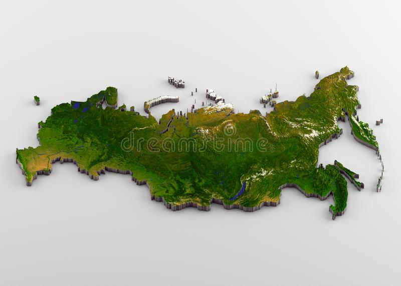 Russia 3D Physical Map with Relief. 3D rendering of extruded high-resolution physical map with relief of Russia, isolated on white background stock illustration