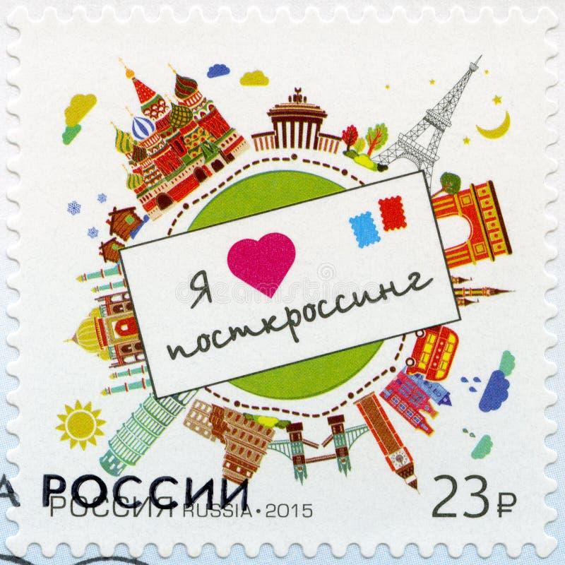 RUSSIA - 2015: dedicate Postcrossing. RUSSIA - CIRCA 2015: A stamp printed in Russia dedicate Postcrossing, circa 2015 royalty free stock image