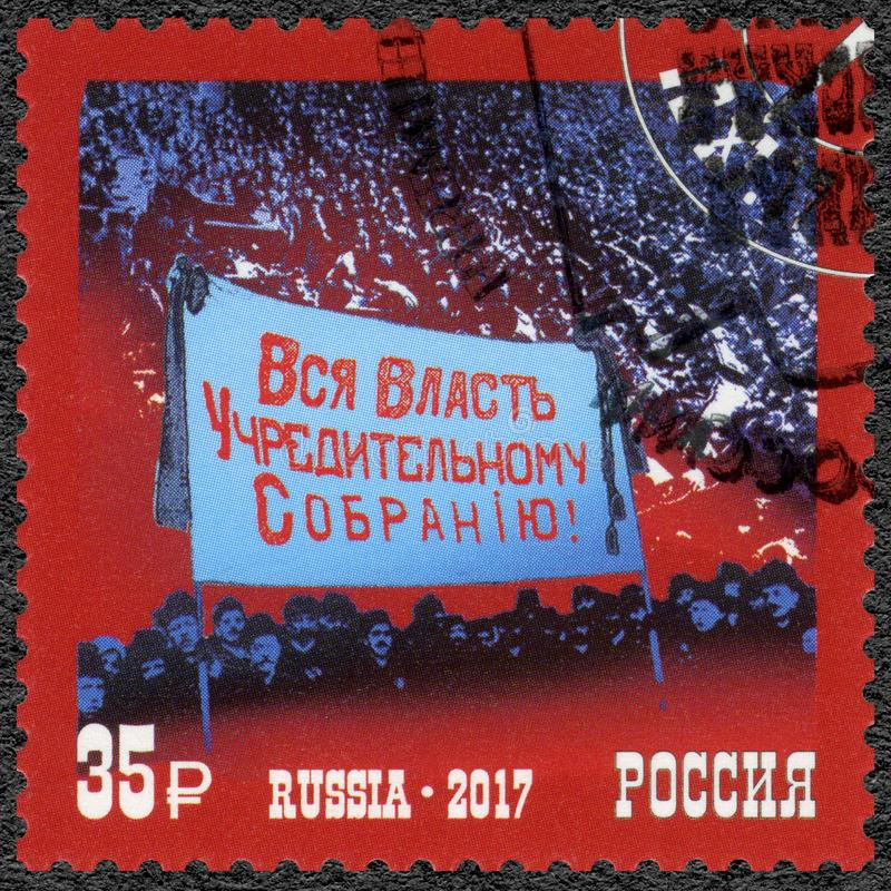 RUSSIA - 2017: dedicated Constituent Assembly, series The 100th Anniversary of the Great Russian Revolution. RUSSIA - CIRCA 2017: A stamp printed in Russia royalty free stock image