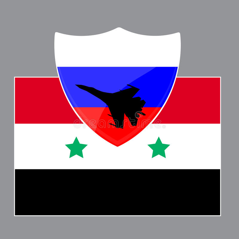 Russia is defending Syria. From ISIS using military aircraft. Vector illustration stock illustration