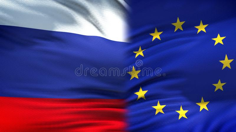 Russia and European Union flags background, diplomatic and economic relations. Stock photo stock image