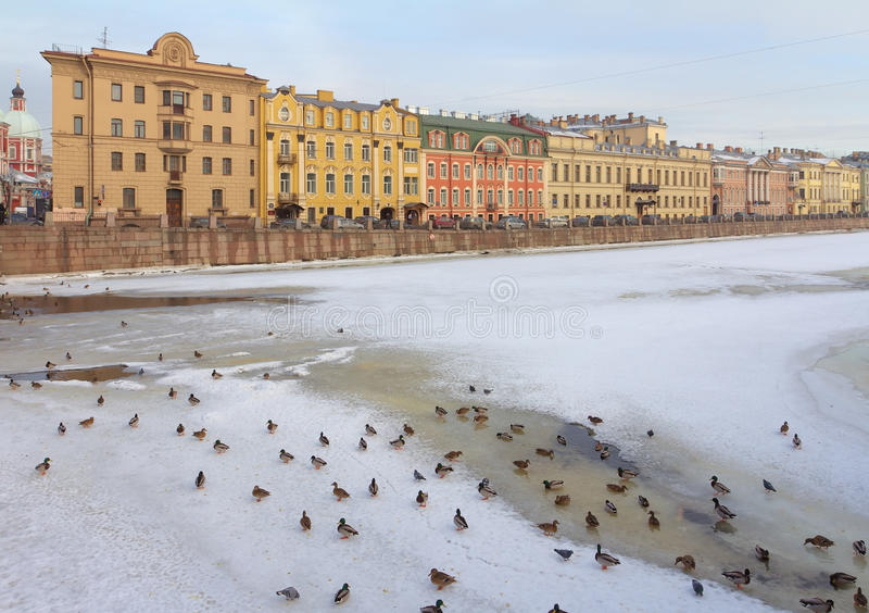 russia för fontankapetersburg flod st arkivfoton