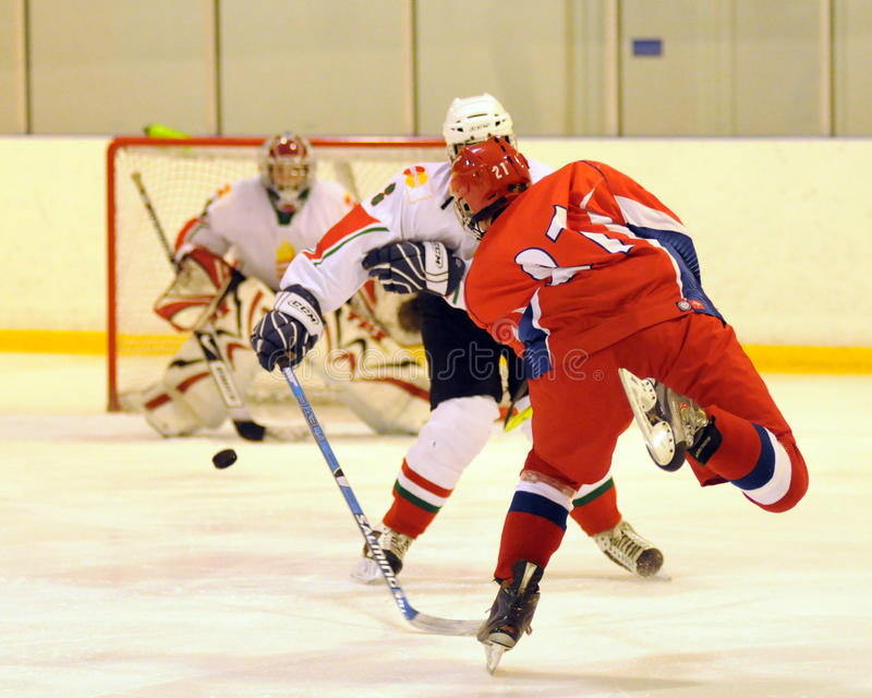 russia för match för hockeyhungary is nationell ungdom royaltyfria bilder
