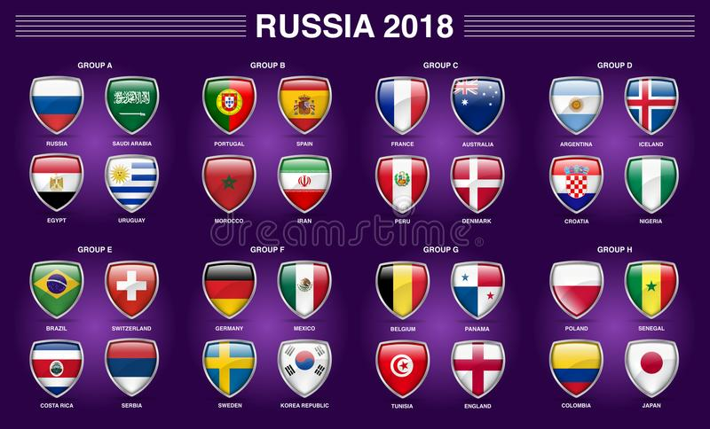 Russia 2018 Fifa World Cup Group Country Flag Icon. Fifa world cup Russia 2018, 32 country separated in 8 groups with shield 3D icon royalty free illustration