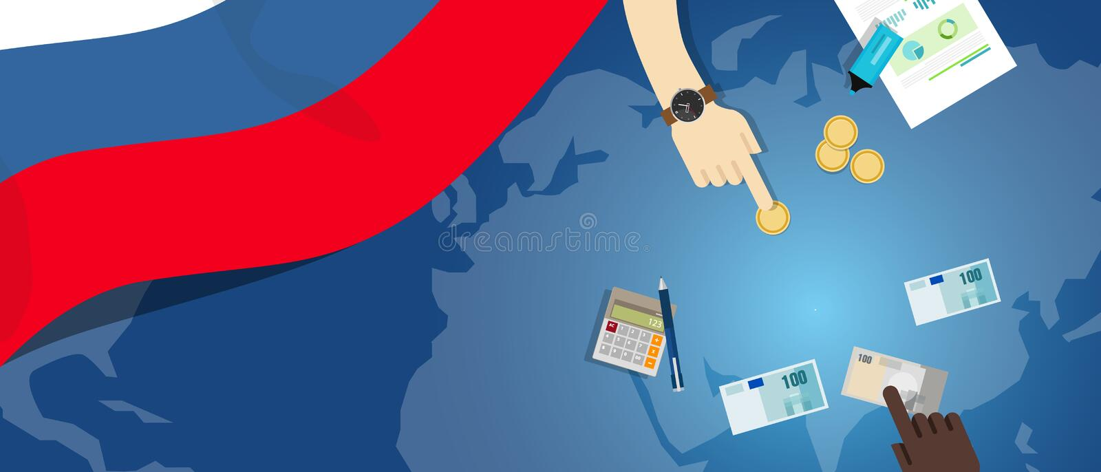 Russia fiscal money trade concept illustration of financial banking budget with flag map and currency. Russia economy fiscal money trade concept illustration of vector illustration