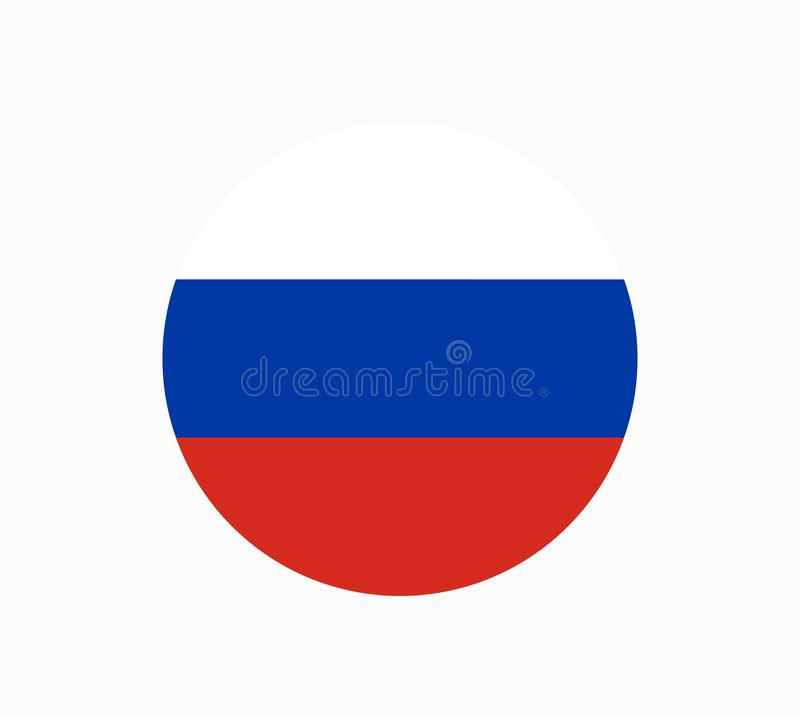 Russia flag in circle shape in national colors, vector. Russia flag, stock illustration