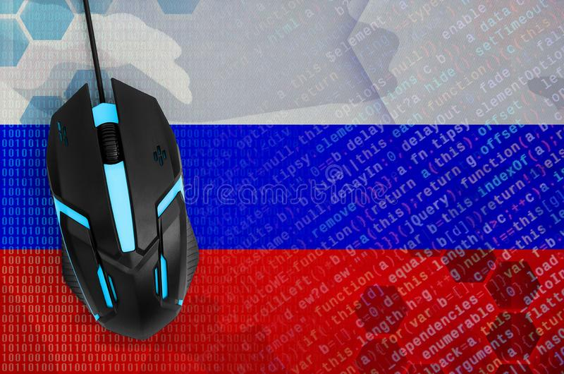 Russia flag and computer mouse. Digital threat, illegal actions on the Internet. Russia flag and modern backlit computer mouse. The concept of digital threat stock image