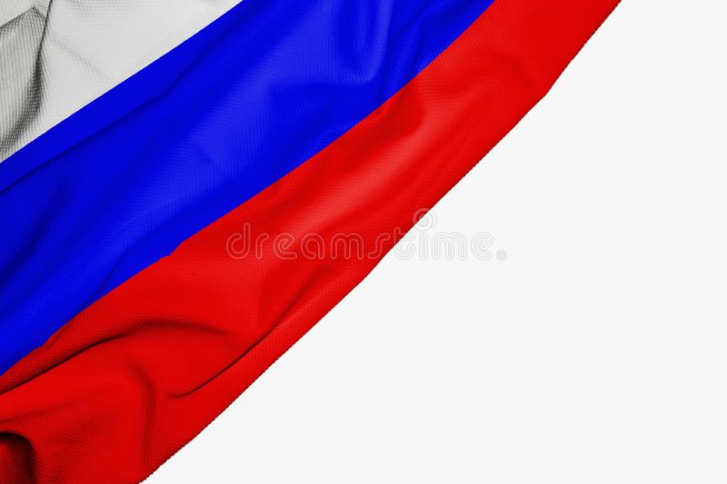 Russia flag of fabric with copyspace for your text on white background. Asia asian banner best blue capital colorful competition country ensign free freedom royalty free illustration