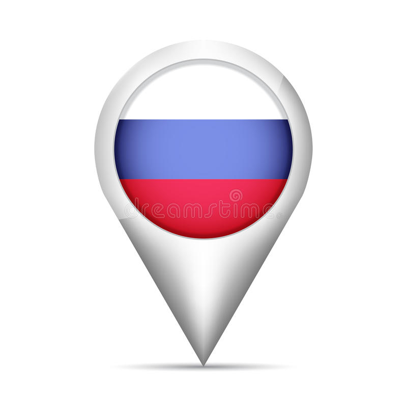 Free Russia Flag Map Pointer With Shadow. Vector Illustration Royalty Free Stock Photo - 95664995