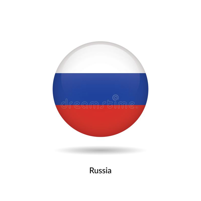 Russia flag - round glossy. Button. Vector Illustration stock illustration