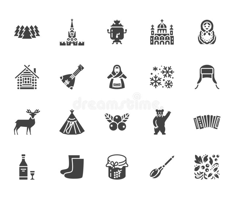 Russia flat glyph icons set. Russian doll, ornament, Moscow Kremlin, samovar, deer, bear, accordion, vodka vector. Illustrations. Signs for travel agency. Solid stock illustration