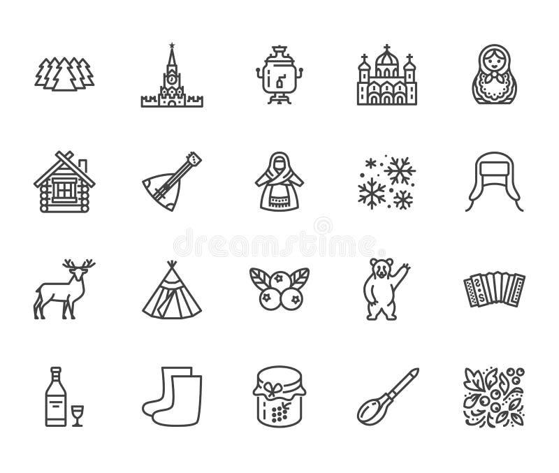 Russia flat line icons set. Russian doll, ornament, Moscow Kremlin, samovar, deer, bear, accordion, vodka vector vector illustration