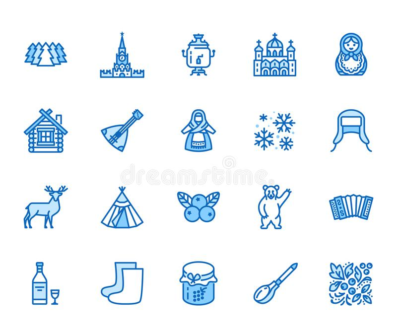 Russia flat line icons set. Russian doll, ornament, Moscow Kremlin, samovar, deer, bear, accordion, vodka vector. Illustrations. Thin signs for travel agency stock illustration