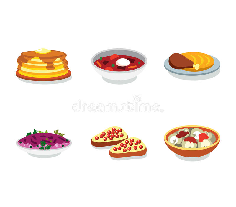 Russia food flat vector icon. Russia tasty food flat vector icon set vector illustration