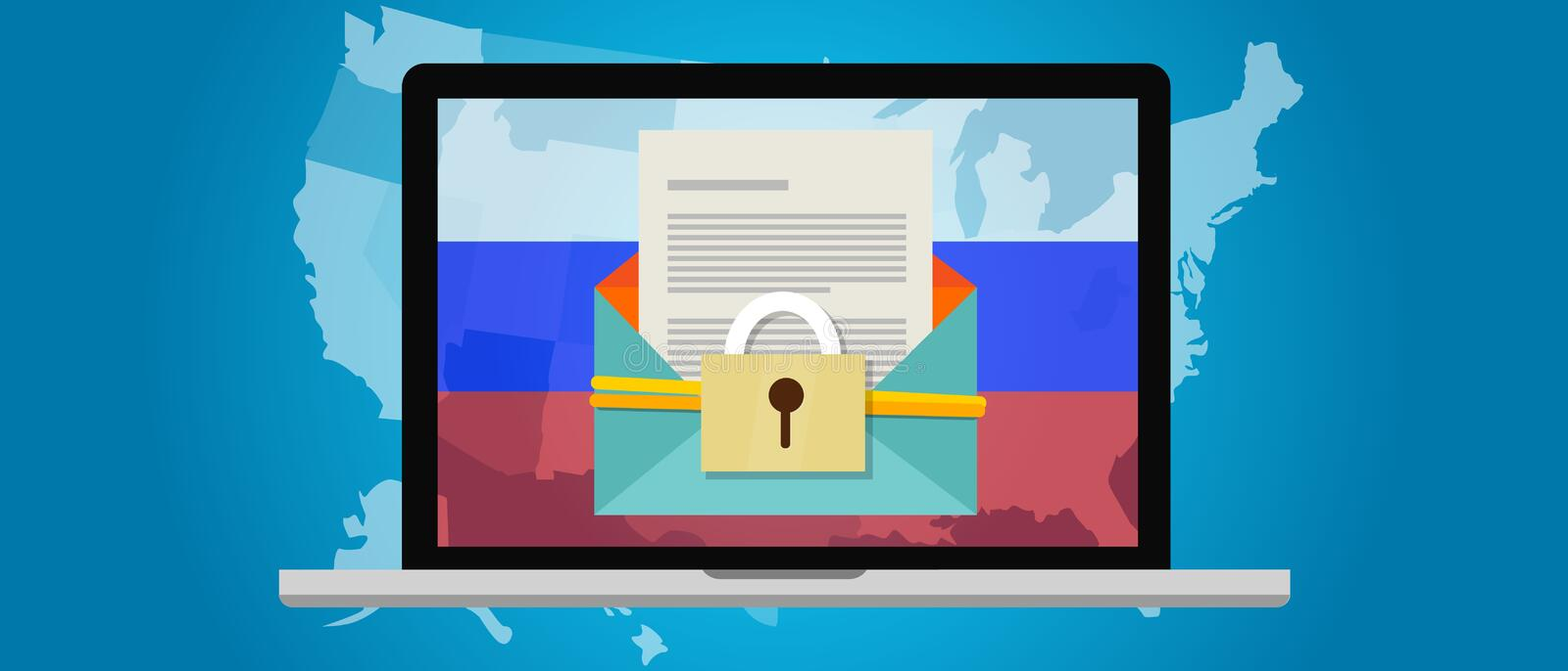 Russia hacking US election America DNC vector illustration
