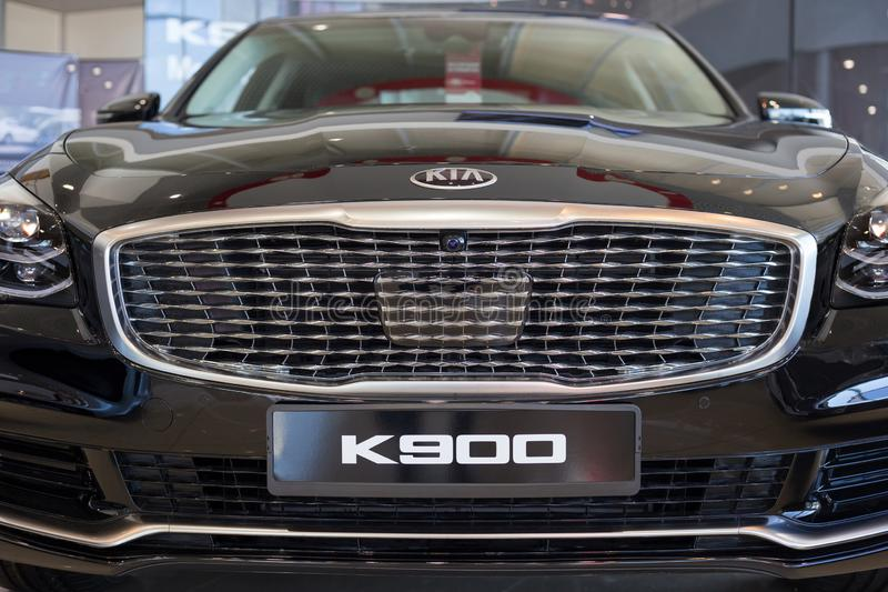 Russia, Izhevsk - April 4, 2019: New car premium class in dealer showroom. New KIA K900. Famous world brand. Modern transportation stock photography