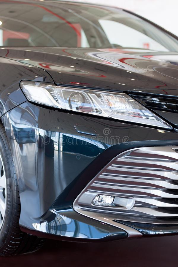 Russia, Izhevsk - April 21, 2018:Showroom Toyota. New Toyota Camry. Front view. stock photography