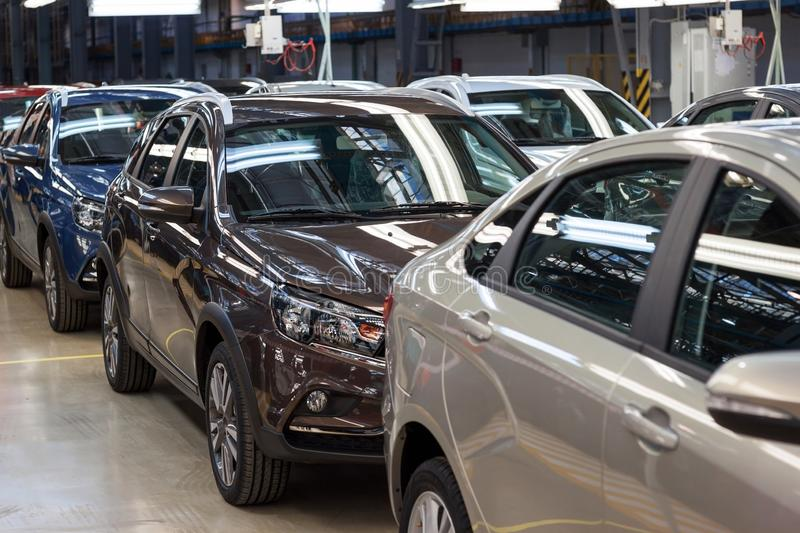 Russia, Izhevsk - December 15, 2018: LADA Automobile Plant Izhevsk. New cars Lada are waiting to be sent to dealers. Russia, Izhevsk - December 15, 2018: LADA royalty free stock photography