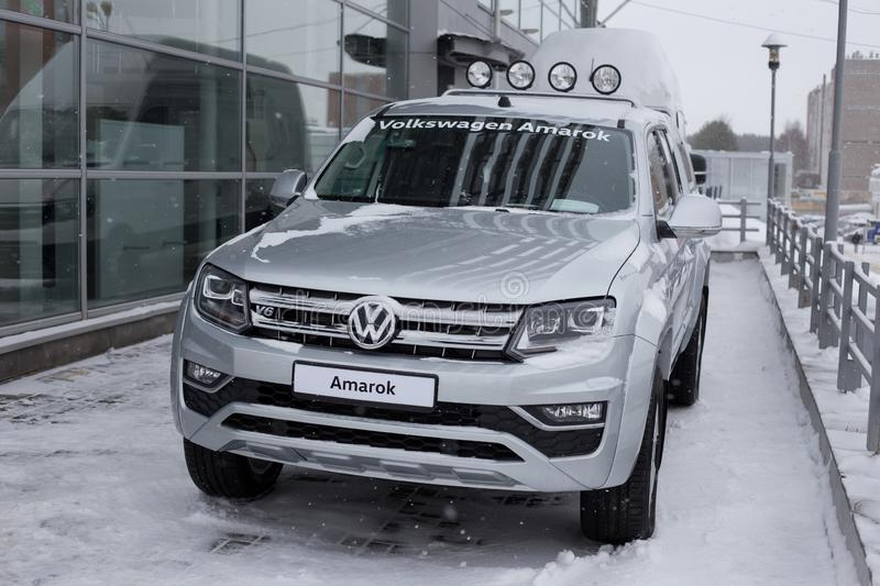Russia, Izhevsk - February 15, 2019: Showroom Volkswagen. New Volkswagen Amarok is standing at the dealer showroom. Famous world brand stock photos