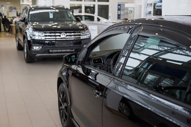 Russia, Izhevsk - February 15, 2019: Showroom Volkswagen. New cars in dealer showroom. Modern transportation stock photos