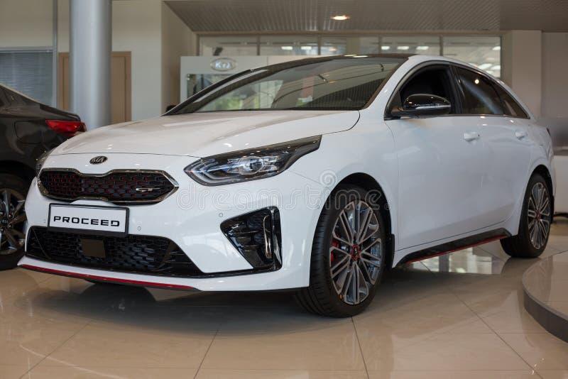 Russia, Izhevsk - July 4, 2019: New cars in the KIA showroom. Modern KIA ProCeed. Famous world brand. Prestigious vehicles royalty free stock image