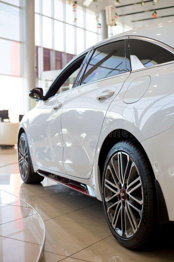 Russia, Izhevsk - July 4, 2019: New cars in the KIA showroom. Modern KIA ProCeed. Side view. Famous world brand royalty free stock photos