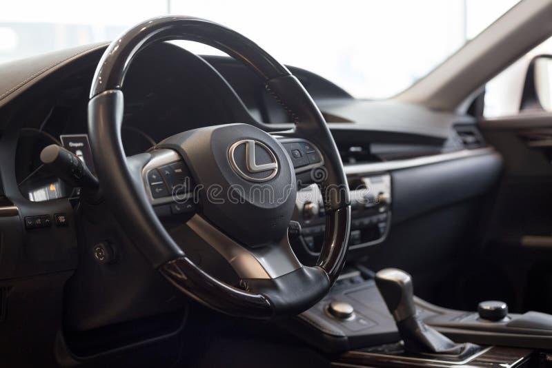 Russia, Izhevsk - October 20, 2018: Showroom Lexus. Interior of new vehicle Lexux with manual transmission royalty free stock photo