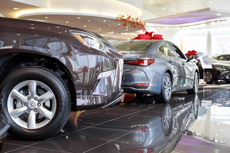 Russia, Izhevsk - October 20, 2018: Showroom Lexus. New cars at dealer showroom. Prestigious vehicles royalty free stock images
