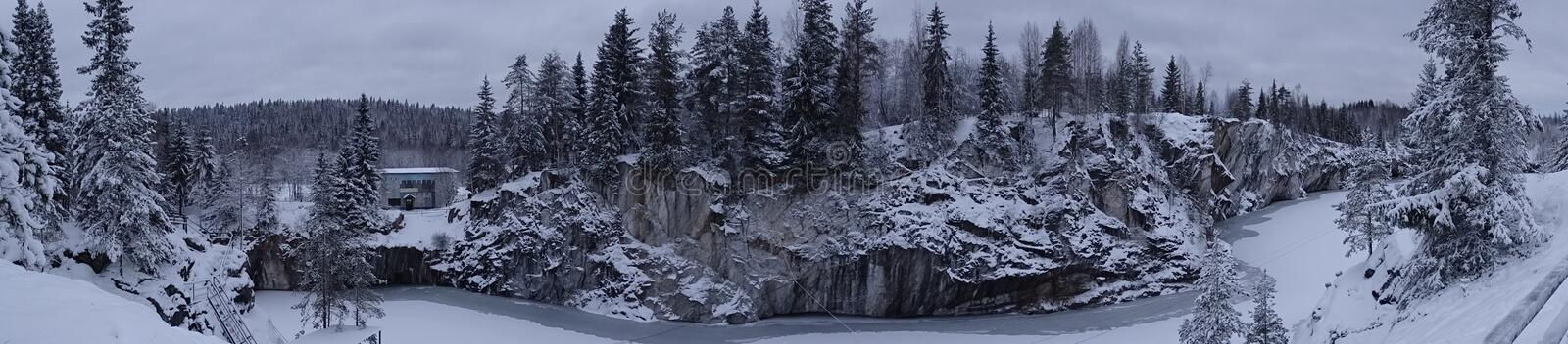 Ussia. The journey to Russia. Karelia. Russia. The journey to Russia. Karelia. Skerries. Winter. The beauty of nature. The places of power. Ruskeala mountain royalty free stock images