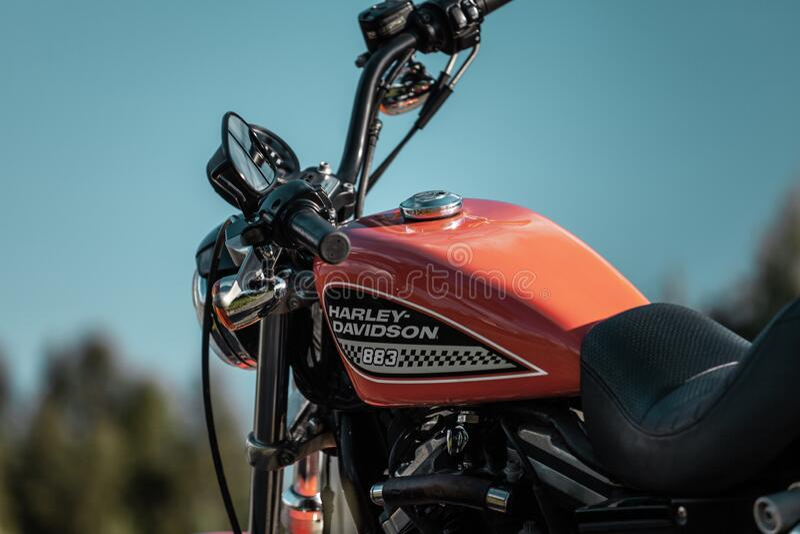 Russia-July 7, 2018: Orange Harley-Davidson Sportster 883 Roadster. Stock photo royalty free stock photo