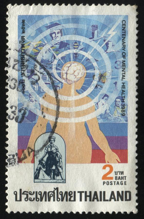Abstract brain with many spiral circles. RUSSIA KALININGRAD, 31 MAY 2016: stamp printed by Thailand, shows abstract brain with many spiral circles, circa 1989 royalty free stock photography