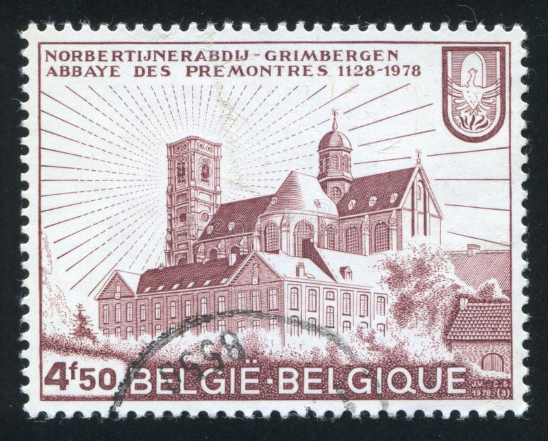 Grimbergen Abbey. RUSSIA KALININGRAD, 20 OCTOBER 2015: stamp printed by Belgium, shows Grimbergen Abbey, circa 1978 royalty free stock photos
