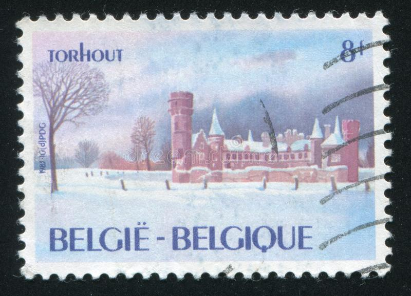 Wijnendale Castle Torhout. RUSSIA KALININGRAD, 19 OCTOBER 2015: stamp printed by Belgium, shows Wijnendale Castle Torhout, circa 1983 royalty free stock image