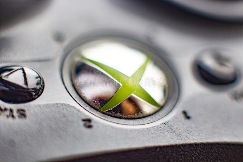Russia Kaliningrad 2019 .Xbox 360 game console close up1 stock photo