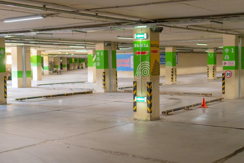 Russia, Kazan - May 10, 2019. Bright underground parking without cars royalty free stock photos