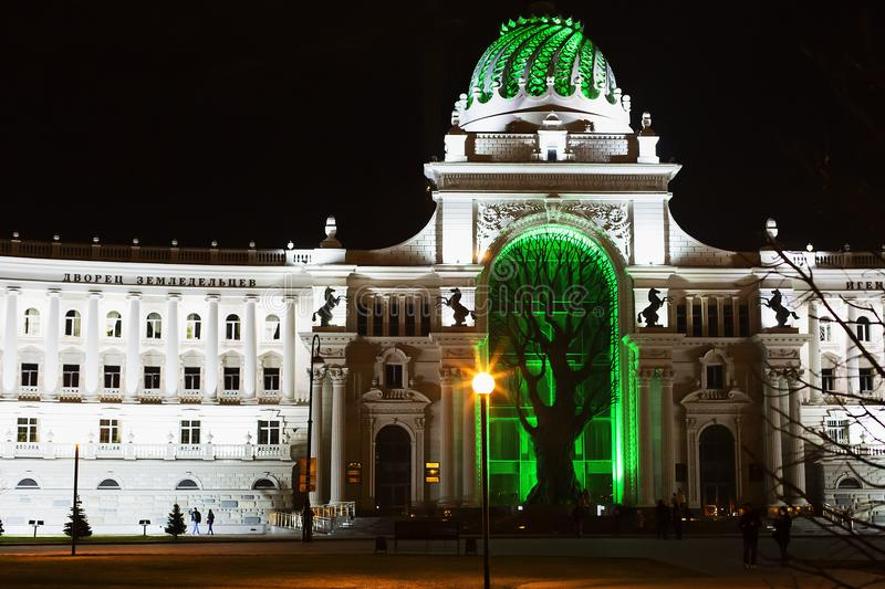 Russia, Kazan, may 2, 2018, Palace of agriculture at night, editorial royalty free stock photo