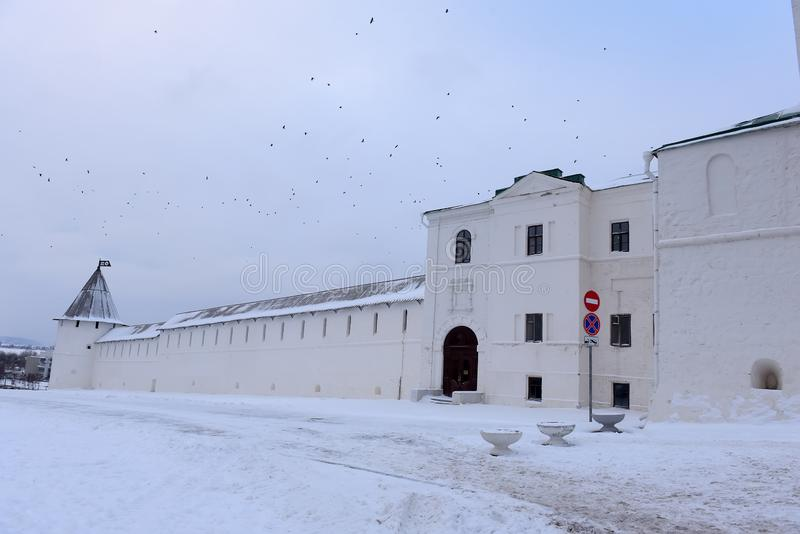 Walls of the Kazan Kremlin stock photo