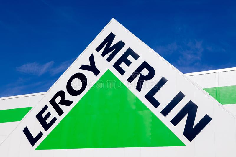 Russia Kemerovo 2019-04-02 Leroy Merlin brand sign against blue sky. French home-improvement, building tools, gardening retailer. Serving thirteen countries royalty free stock image