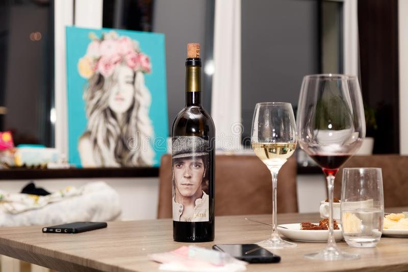 Russia Kemerovo 2019-01-19 Matsu El Picaro red Spanish Toro wine stands on a wooden table against the window, beautiful pictures, royalty free stock image