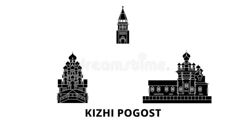 Russia, Kizhi Pogost flat travel skyline set. Russia, Kizhi Pogost black city vector illustration, symbol, travel sights vector illustration