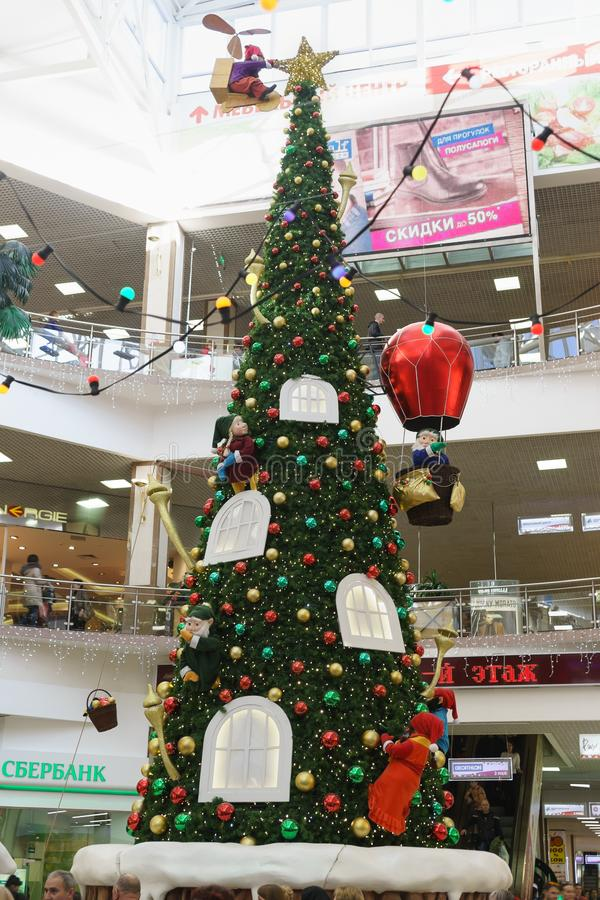 Russia, Krasnodar-January 07, 2017: new year tree with gnomes, bringing gifts in the shopping and entertainment complex Red Square stock images