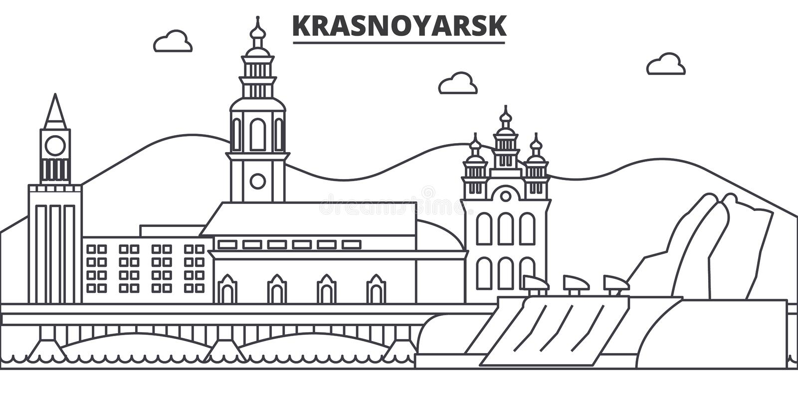 Russia, Krasnoyarsk architecture line skyline illustration. Linear vector cityscape with famous landmarks, city sights stock illustration